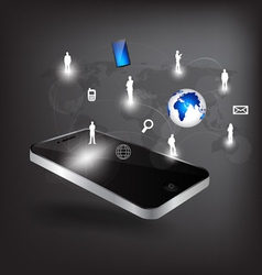 mobile phone social network vector image