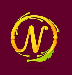 N letter monogram design elements vector image
