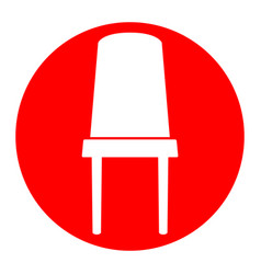 Office chair sign white icon in red vector