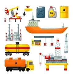 Oil industry icons collection vector