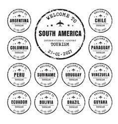 Old stamps with the name of the south american vector