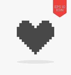 Pixel heart icon Flat design gray color symbol vector image