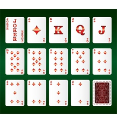 Playing cards Set Diamonds vector image