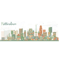 Rotterdam netherlands skyline with color buildings vector
