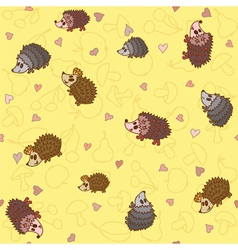 Seamless pattern with cute little hedgehogs vector image vector image