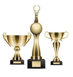 set of golden trophy cups winner graphic art icon vector image vector image