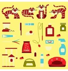Set of sign cat accessories vector
