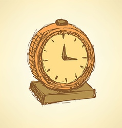 Sketch business clock in vintage style vector image