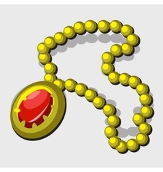 Vintage jewelry with yellow beads and red pendant vector