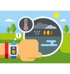 Weather Application on Smart Watch vector image