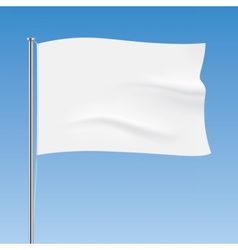 White flag waving on a blue sky background vector