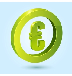 Green euro symbol isolated on blue background vector image