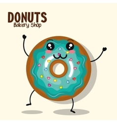 Icon donut blue icing cream graphic vector