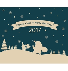 Merry Christmas greeting card snowman 2017 vector image