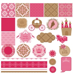 Princess girl birthday set vector