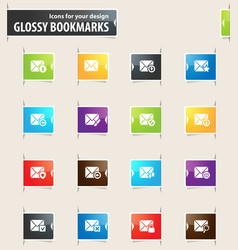 Mail and envelope bookmark icons vector