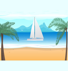 Beach palm tree boat with sails on ocean vector