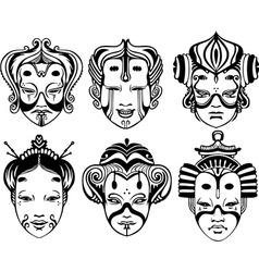 Japanese tsure noh theatrical masks vector