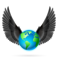 Globe with black wings on white vector