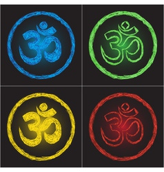 Hinduism religion golden symbol om on black backgr vector
