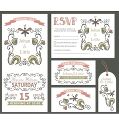 Vintage wedding design template setFloral decor vector image