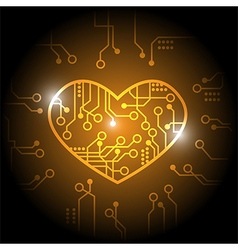 Orange circuit heart background vector