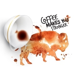 Poster wild coffee buffalo vector