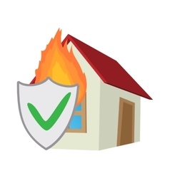 Property insurance icon cartoon style vector