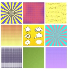 Comics book background halftone patterns vector