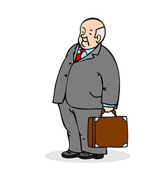 Old man with a suitcase business elderly man weari vector