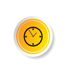 Sticker in yellow color with clock vector