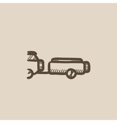 Car with trailer sketch icon vector