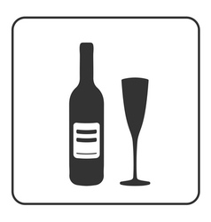 Alcohol icon bottle wine vector