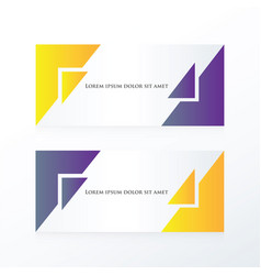 Banner abstract purple yellow vector