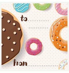 Birthday card design with colorful tasty donuts vector image
