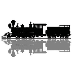 black silhouette of an old steam locomotive vector image