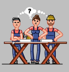Builders crew exploring the drawings vector