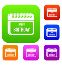 calendar happy birthday set collection vector image