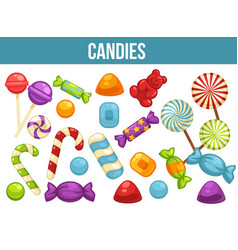 candies sweets and confectionery comfits caramel vector image