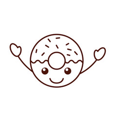 cartoon cute donut dessert food kawaii vector image