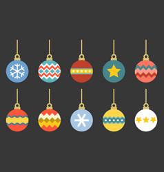 christmas balls set flat design vector image