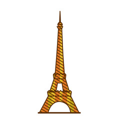color silhouette of eiffel tower with background vector image