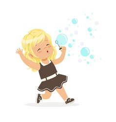 cute blonde little girl blowing bubbles vector image vector image