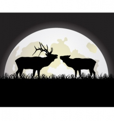deer against the moon vector image vector image