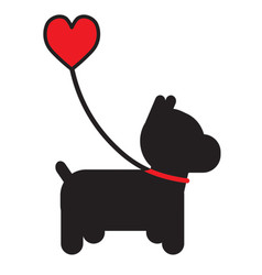 Dog and heart vector