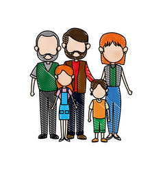 Family parents with childrens father mother vector
