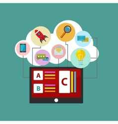 Flat design concept of cloud service and mobile vector image