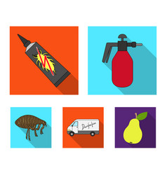 Flea special car and equipment flat icons in set vector
