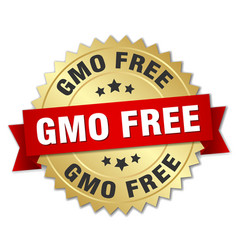 Gmo free round isolated gold badge vector