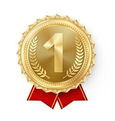 gold medal golden 1st place badge sport vector image vector image